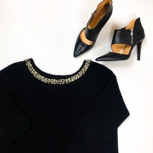Hinge Sweater Open Back & Rhinestone Embellished-L